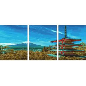Японский пейзаж Триптих Раскраска картина по номерам на холсте РХ5293