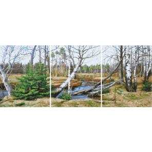 Весна в лесу Триптих Раскраска картина по номерам на холсте РХ5318
