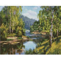 У реки Алмазная вышивка мозаика на подрамнике QAPK59030