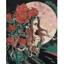 Девушка и луна Раскраска картина по номерам на холсте