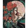 Девушка и луна Раскраска картина по номерам на холсте AAAA-RS034-80x100