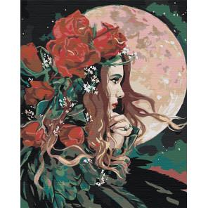 Девушка и луна Раскраска картина по номерам на холсте AAAA-RS034