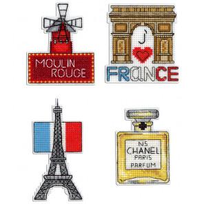 Франция. Магниты Набор для вышивания на пластиковой канве МП Студия Р-306
