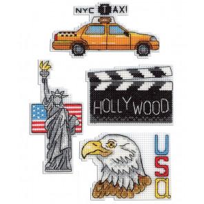 США. Магниты Набор для вышивания на пластиковой канве МП Студия Р-307