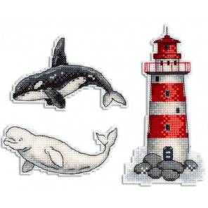 Морская история. Магниты Набор для вышивания на пластиковой канве МП Студия Р-333
