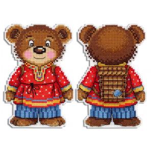 Косолапый медведь Набор для вышивания на пластиковой канве МП Студия Р-474