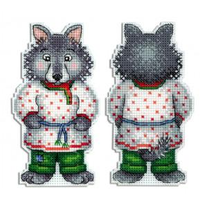 Серый волк - зубами щелк Набор для вышивания на пластиковой канве МП Студия Р-478