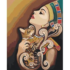 Египет. Девушка и кошка Раскраска картина по номерам на холсте с металлическими красками AAAA-RS056-100x125