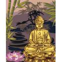 Золотой будда Раскраска картина по номерам на холсте с металлическими красками AAAA-RS057-80x100