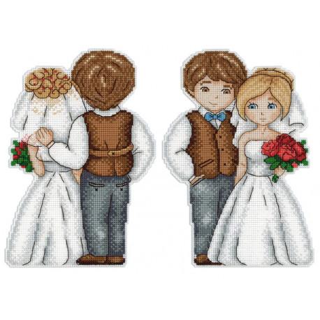 Жених и невеста Набор для вышивания на пластиковой канве МП Студия Р-276