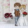 Пример вышитой работы Жених и невеста Набор для вышивания на пластиковой канве МП Студия Р-276