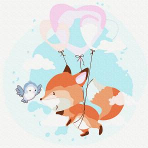 Лисичка с шариком Раскраска картина по номерам на холсте KH0908