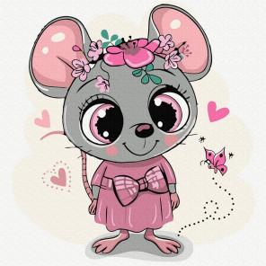 Милая мышка Раскраска картина по номерам на холсте KH0913