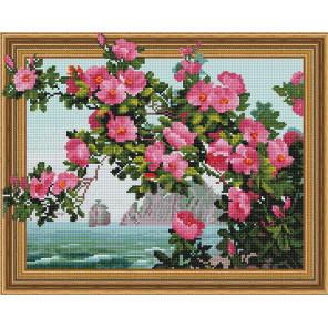 Пример выложенной мозаики Морской пейзаж Алмазная мозаика вышивка на подрамнике Molly KM0771
