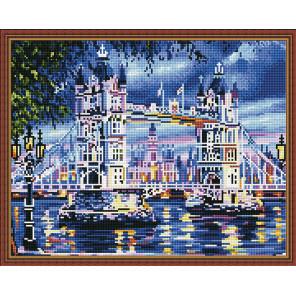 Пример выложенной мозаики Тауэрский мост Алмазная мозаика вышивка на подрамнике Molly KM0813