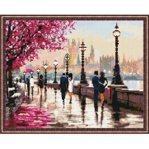 Пример выложенной мозаики Набережная Алмазная мозаика вышивка на подрамнике Molly KM0821