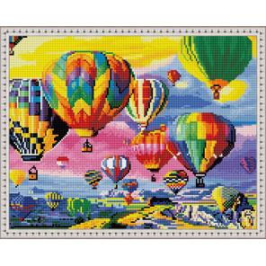 Пример выложенной мозаики Парад воздушных шаров Алмазная мозаика вышивка на подрамнике Molly KM0889