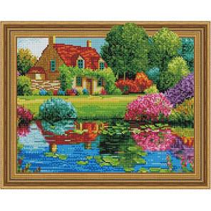 Дом у цветущего озера Алмазная вышивка мозаика на подрамнике TSGJ1201