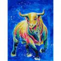 Космический бык Раскраска картина по номерам на холсте 366-AS