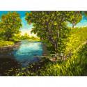 Речка за деревней Раскраска картина по номерам на холсте 367-AS