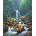 Водопад в лесу Раскраска картина по номерам на холсте МСА689