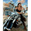 Байкерша Раскраска картина по номерам на холсте GX36882