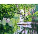 Лодочки в пруду Раскраска картина по номерам на холсте MCA1052