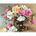 Ваза с розами Раскраска картина по номерам на холсте MCA1069
