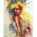 Портрет африканки акварелью Раскраска картина по номерам на холсте MCA1106