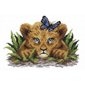 Львенок в траве Канва с рисунком для вышивки МП Студия СК-064