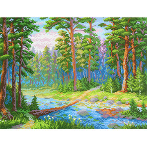 Лесная речка Канва с рисунком для вышивки МП Студия СК-070