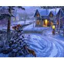 Зимний вечер за городом Раскраска картина по номерам на холсте GX26435