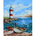 Лодки у маяка Раскраска картина по номерам на холсте МСА390