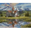Часовня в горах Раскраска картина по номерам на холсте MCA544