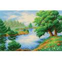 Дерево у реки Канва с рисунком для вышивки МП Студия СК-001