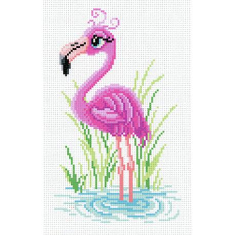Мечтательный фламинго Канва с рисунком для вышивки МП Студия СК-005