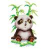 Пример вышитой работы Малыш-панда Канва с рисунком для вышивки МП Студия СК-010