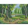 Пример вышитой работы Тропинка к реке Канва с рисунком для вышивки МП Студия СК-012