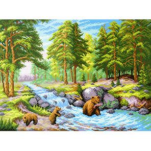 Лесной ручей Канва с рисунком для вышивки МП Студия СК-024