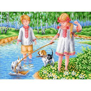 Игры на реке Канва с рисунком для вышивки МП Студия СК-025