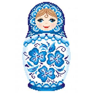 Матрёшка. Гжельская роспись Набор для вышивания МП Студия КН-454