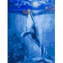 Встреча с китом в полнолуние 30х40 см Раскраска картина по номерам на холсте PKC79059