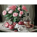Натюрморт с яблоками и виноградом 30х40 см Раскраска картина по номерам на холсте PKC79034