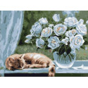 Белые розы 30х40 см Раскраска картина по номерам на холсте PKC79011
