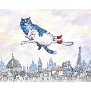 Воздушные коты Алмазная мозаика вышивка на подрамнике LG279