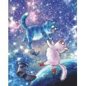 Коты в космосе Алмазная мозаика вышивка на подрамнике LG274