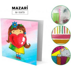 ДЕВОЧКА И СЕРДЕЧКОМ Алмазная мозаика открытка своими руками Mazari M-10479