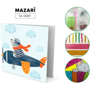 Мишка-пилот в самолете Алмазная мозаика открытка своими руками Mazari M-10457