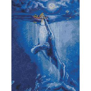 Встреча с китом в полнолуние 30х40см Алмазная мозаика вышивка на подрамнике ACPK79059
