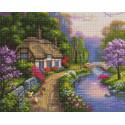 Деревенский домик у речки Алмазная мозаика вышивка на подрамнике GF4209